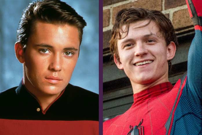 Wil Wheaton as Wesley Crusher. Tom Holland as Spider-Man. CBS / Disney