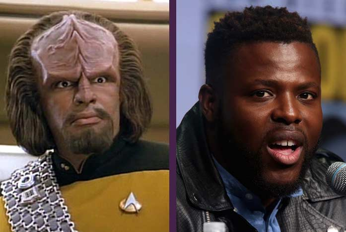 Michael Dorn as Mr. Worf, with Winston Duke. CBS