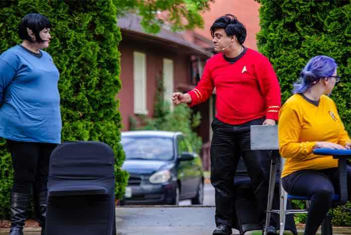 Spock and Scotty argue, as Una listens. Photo by Chase Gilley